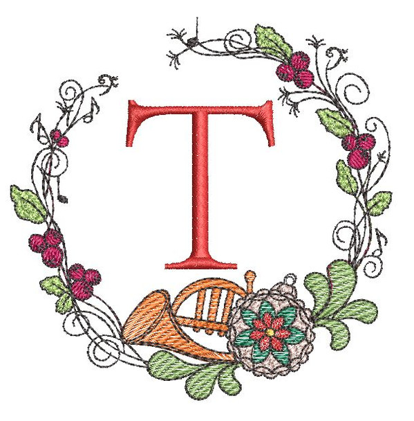 French Horn Wreath T Font - Embroidery Designs