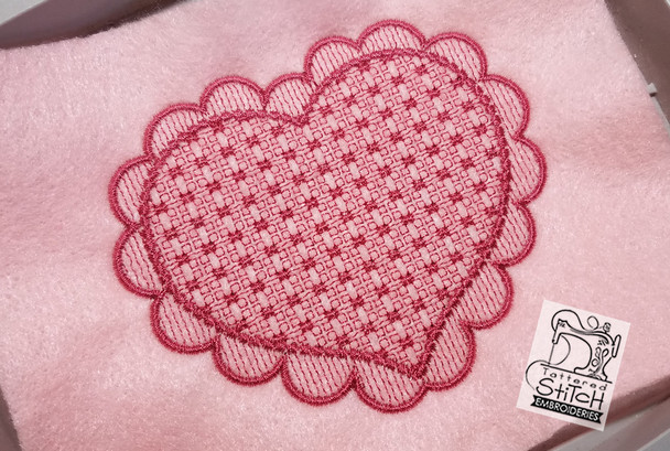 """Motif Knockdown Scalloped Heart Frame Fits 4x4, 5x7, 7x11 and 8x8"""" Hoop - Instant Downloadable Machine Embroidery"""