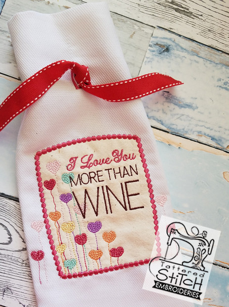 "Valentine Wine Bottle Bag - Fits in a 8 x 14"" Hoop - Instant Downloadable Machine Embroidery"