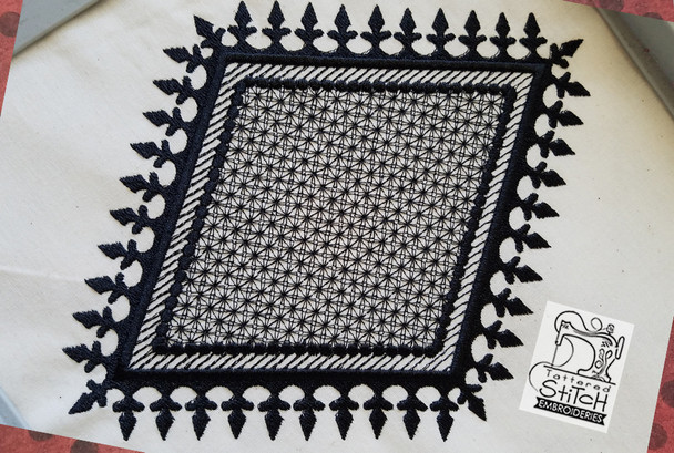 "Motif Knockdown Fleur De Lis Diamond - Fits 4x4, 5x7, 7x11 and 8x8"" Hoop - Instant Downloadable Machine Embroidery"