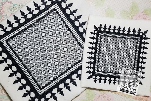 "Motif Knockdown Fleur De Lis Square - Fits  5x7, 6x11 and 8x8"" Hoop - Instant Downloadable Machine Embroidery"