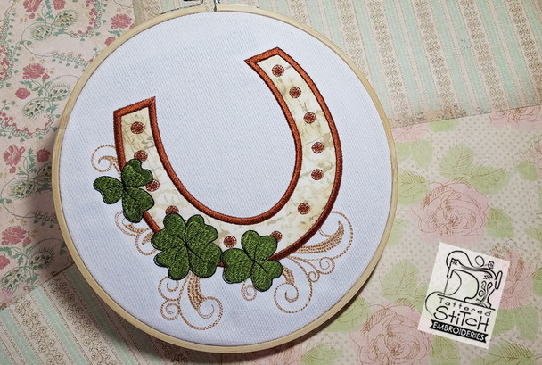 "Lucky Horseshoe Applique 5x7 and 8x8"" Hoop - Instant Downloadable Machine Embroidery"
