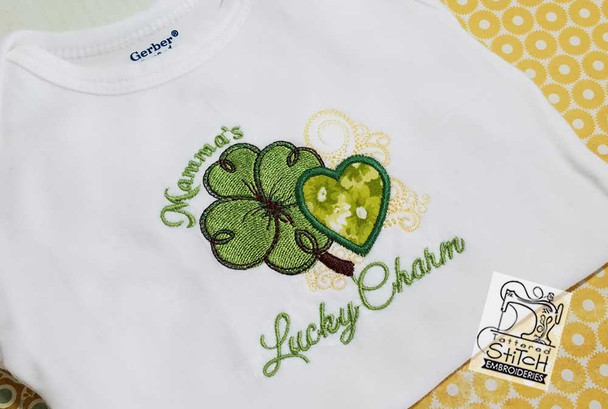 """Mamma's Lucky Charm Applique Fits a 4x4, 5x7 and 6x11"""" Hoop - Instant Downloadable Machine Embroidery"""