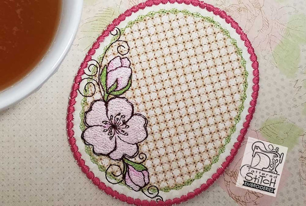 """Cherry Blossom Coaster - Fits a 5x7"""" Hoop - Instant Downloadable Machine Embroidery"""
