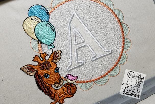 Baby Giraffe Font Applique - P - Embroidery Designs