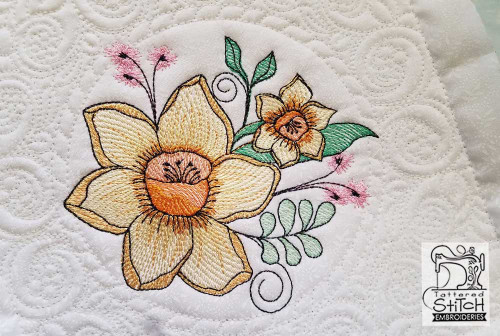 """Daffodil Cluster Quilt Block-Fits a  5x5"""", 6x6"""", 7x7"""", 8x8"""" & 10x10""""  Hoop - Machine Embroidery Designs - Tattered Stitch Embroideries"""