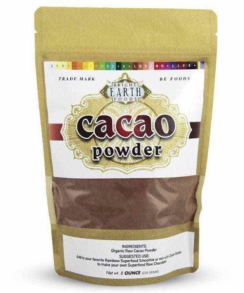 Bright Earth Foods Organic Cacao Powder, Raw, Vegan 8oz