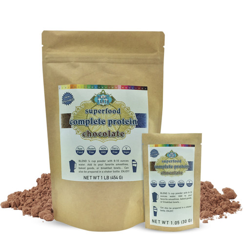 Organic raw plant-based vegan chocolate protein powder 1lb (16oz/454g), 1.05oz (30g)