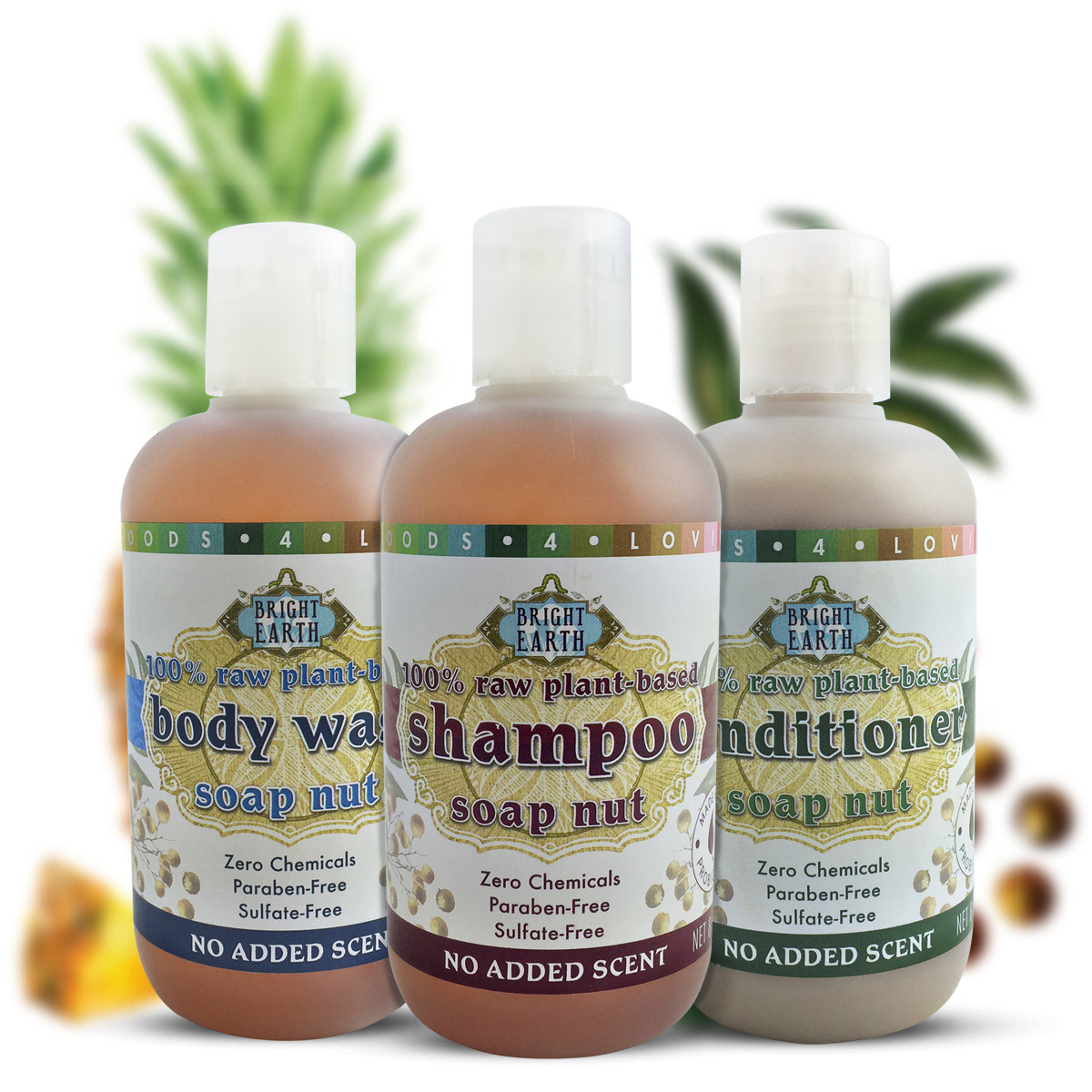 Raw plant body care bundle package, zero synthetic chemicals.