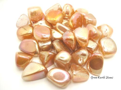 Orange Aura Rose Quartz Tumbled Stone