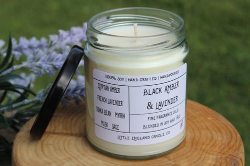 Black Amber & Lavender 8oz Soy Candle