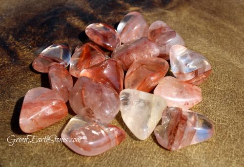 Hematoid Quartz Tumbled Stone