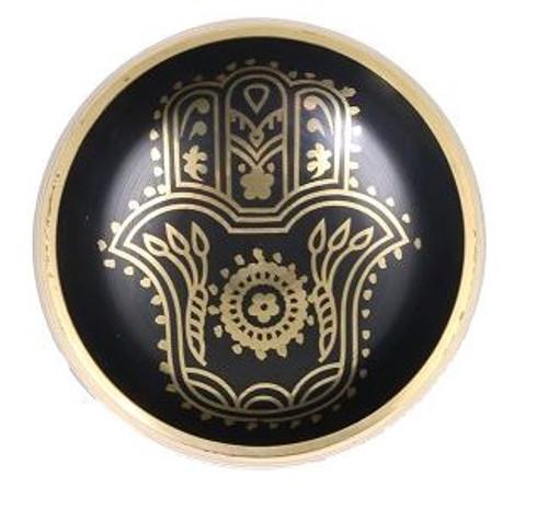 Tibetan Singing Bowl Black Hamsa Hand