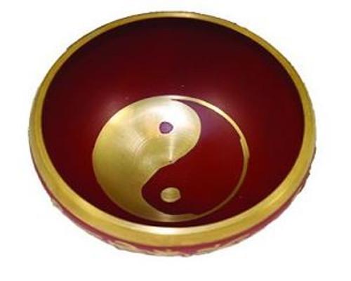 Tibetan Singing Bowl Red Yin Yang