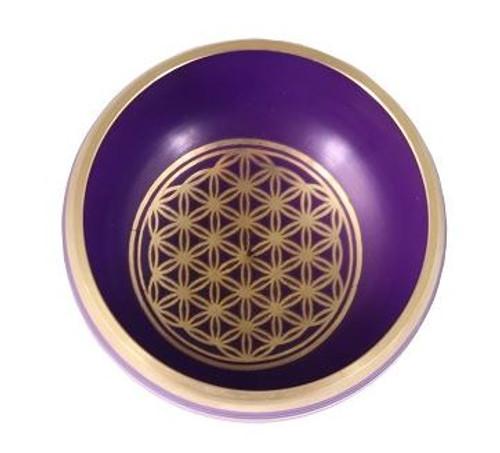 Tibetan Singing Bowl Purple Flower of Life