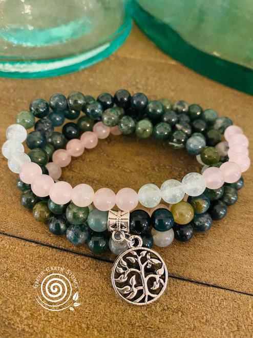 Prayer Beads Aquamarine, Rose Quartz, Moss Agate