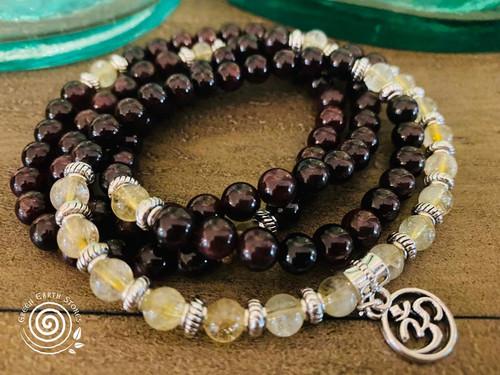Prayer Beads Garnet and Citrine with OM Charm