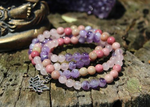 Prayer Beads Rose Quartz, Amethyst and Rhodonite