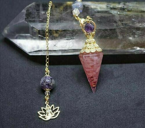 Rose Quartz Lotus Orgone Pendulum
