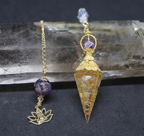 Citrine Lotus Orgone Pendulum