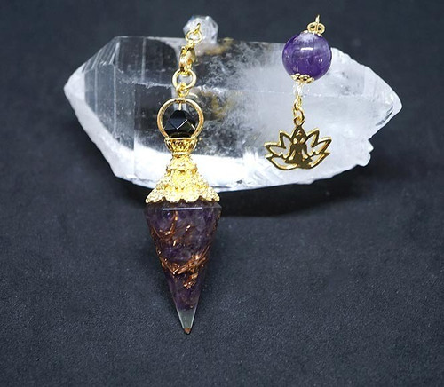 Amethyst Lotus Orgone Pendulum