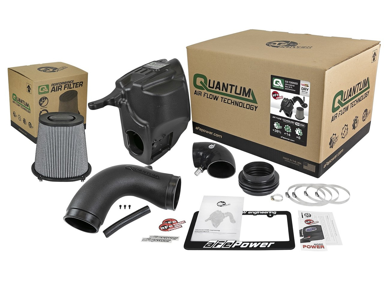 aFe 53-10002D Quantum Pro Dry S Cold Air Intake System For 13-18 RAM Diesel Trucks L6-6.7L