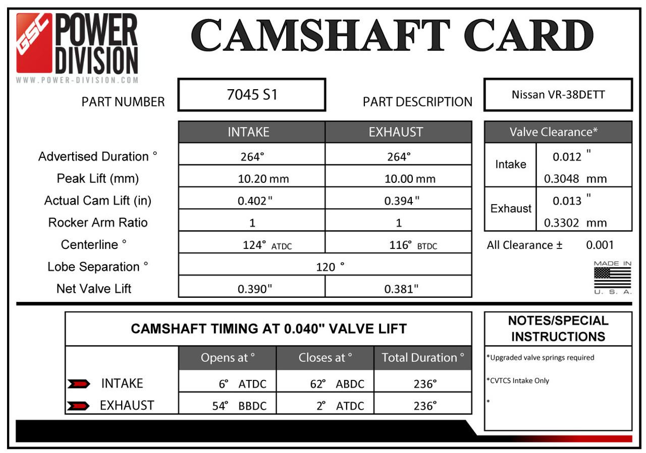 GSC Power Division Billet S1 Camshafts For Nissan GT-R - GSC7045S1
