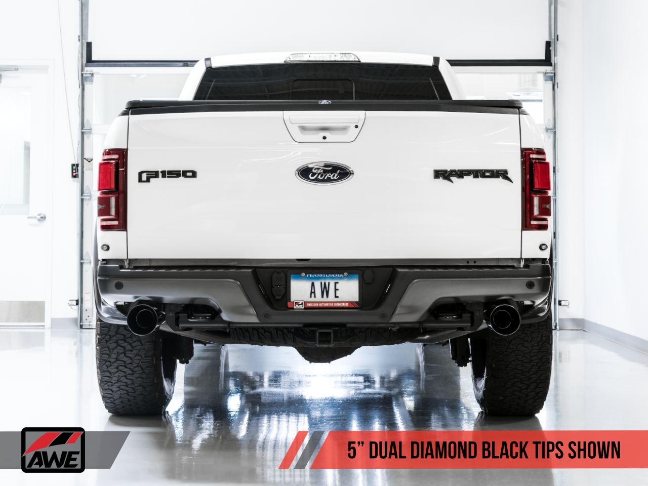 """AWE 0FG Cat-back Exhaust W/ Diamond Black 5"""" Tips For 17-20 Ford Raptor Ecoboost - 3015-33106"""