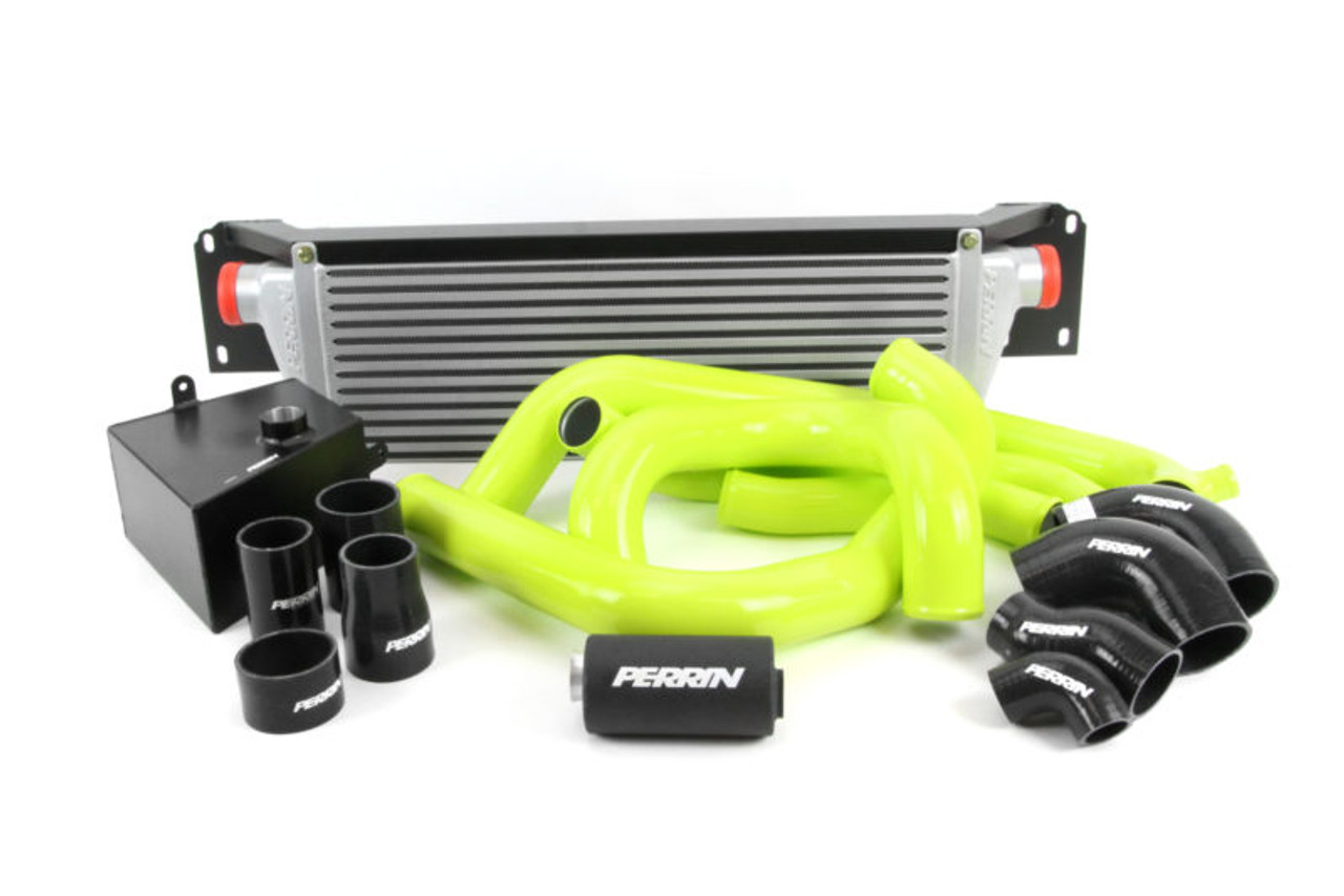 Perrin Front Mount Intercooler Kit (Silver Core/Neon Yellow Pipes) For 15-17 Subaru STI - PSP-ITR-KIT5-SLNY