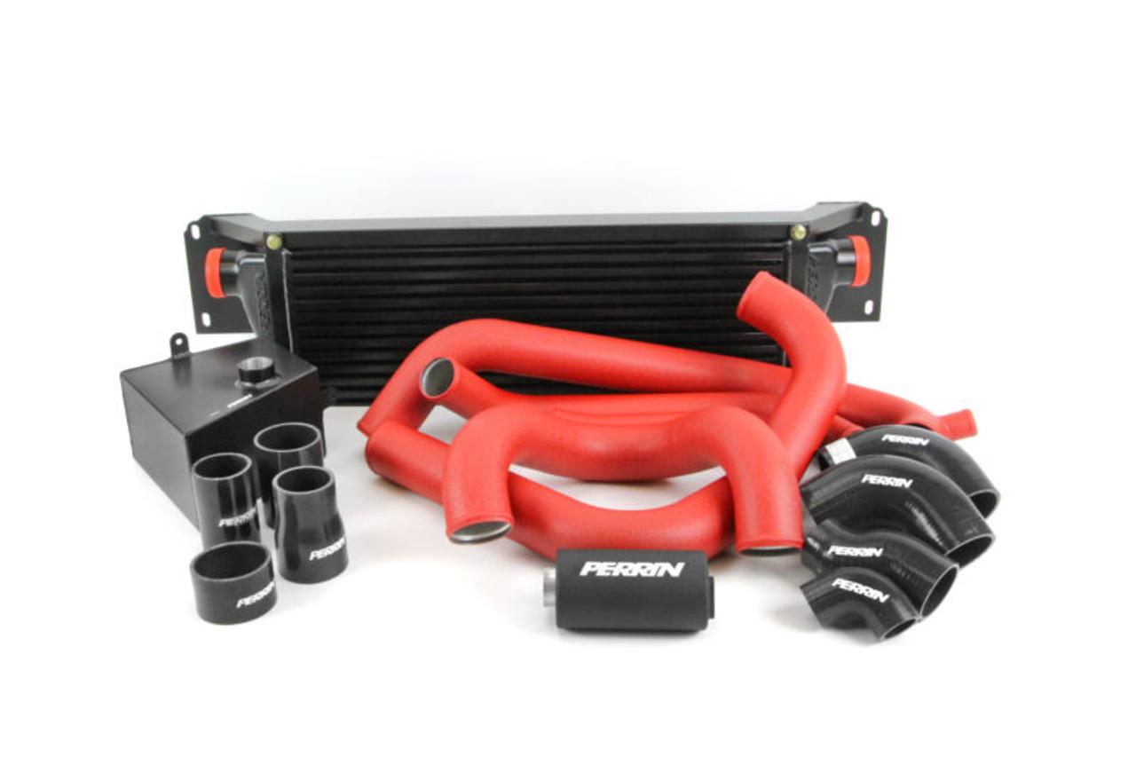 Perrin Front Mount Intercooler Kit (Black Core/Red Pipes) For 15-17 Subaru STI - PSP-ITR-KIT5-BKRD