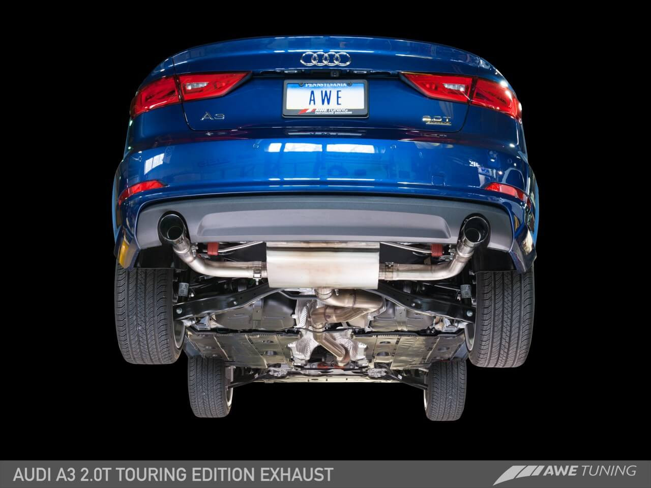 AWE Touring Catback Exhaust (Black Tips) For 15-18 Audi A3 (8V) - 3015-32058