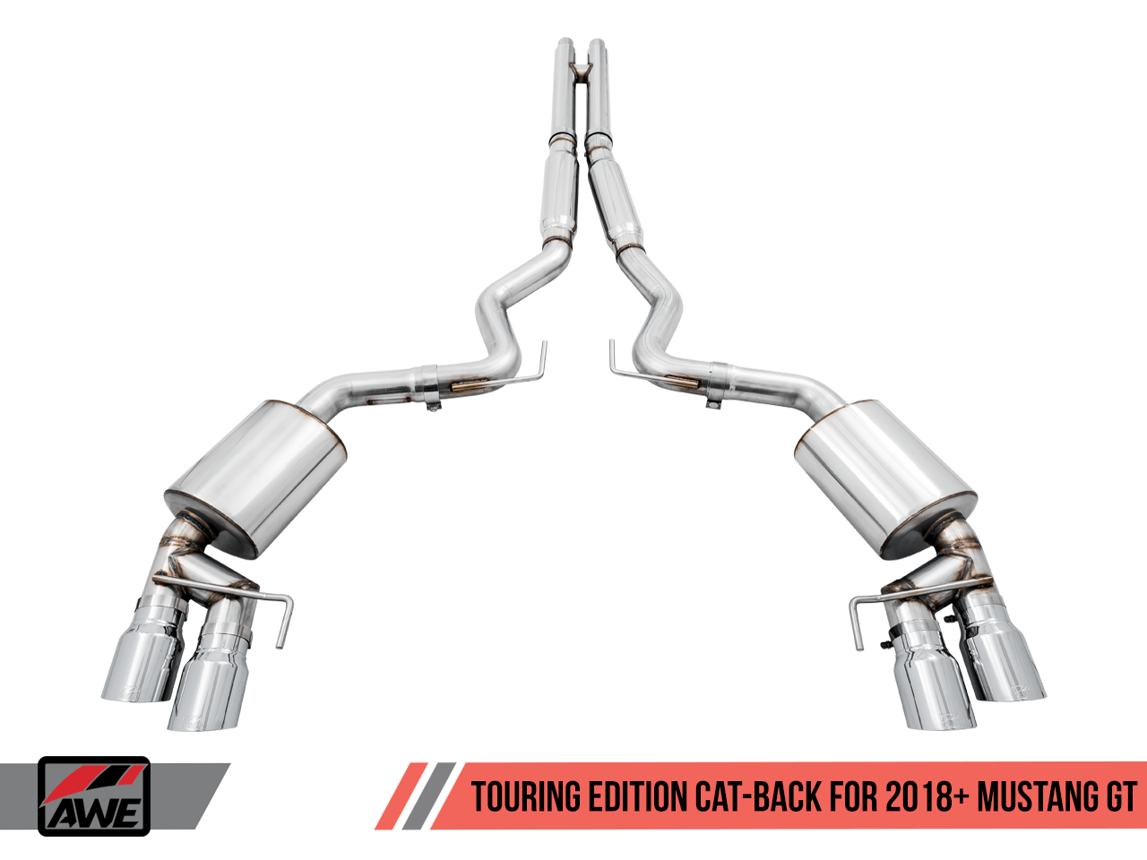AWE Touring Catback Exhaust (Black Tips) For 18+ Ford Mustang GT - 3015-43106