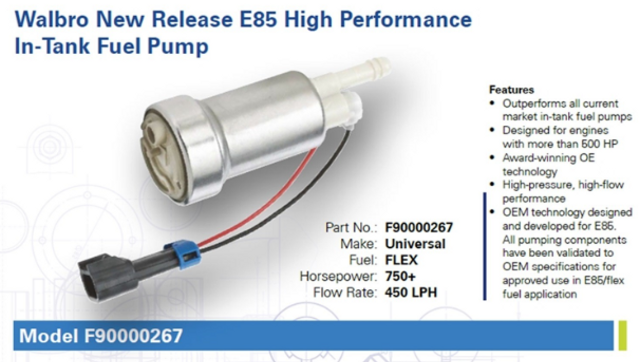 Walbro 450lph E85 In-Tank Fuel Pump - F90000267
