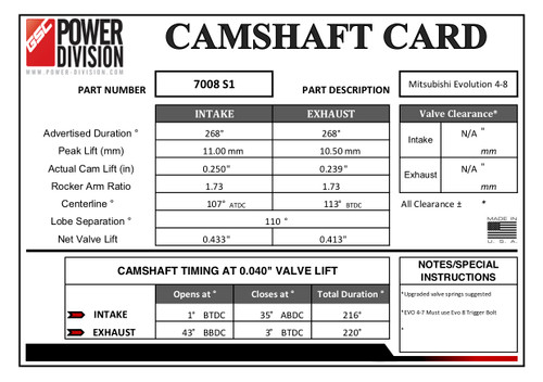GSC Power Division Billet S1 Camshafts For Mitsubishi Evo 4-8 - GSC7008S1