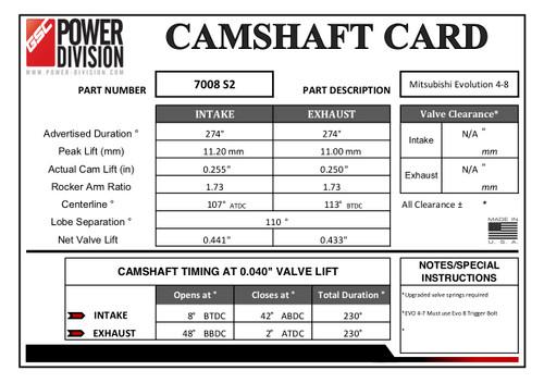 GSC Power Division Billet S2 Camshafts For Mitsubishi Evo 4-8 - GSC7008S2