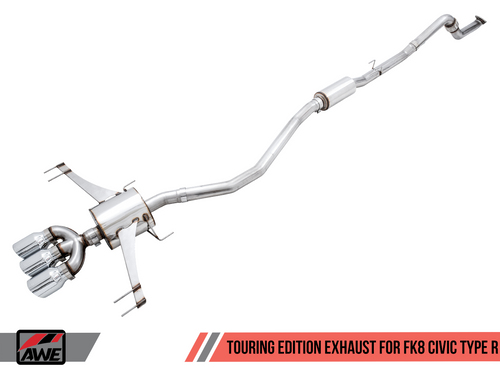 AWE Tuning FK8 Touring Edition Cat-back Exhaust W/ Triple Diamond Black Tips For 17+ Honda Civic Type R - 3015-53006