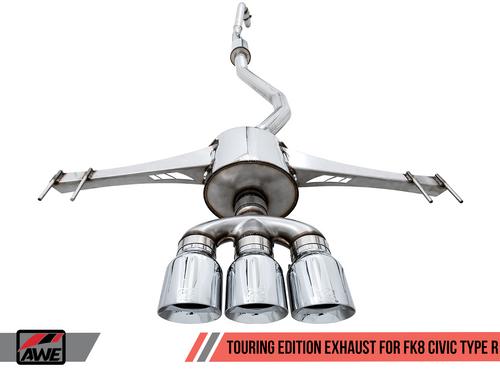AWE FK8 Touring Exhaust (Black Tips) For 17+ Honda Civic Type R - 3015-53006