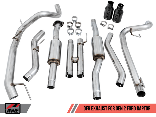 "AWE 0FG Cat-back Exhaust W/ Diamond Black 5"" Tips For 17-20 Ford Raptor Ecoboost - 3015-33106"