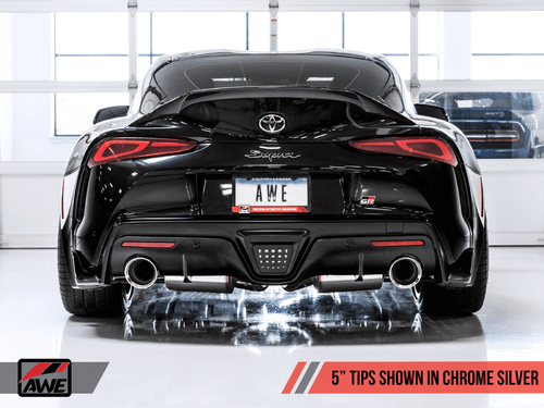 "AWE Non-Resonated Touring Edition Exhaust W/ 5"" Chrome Silver Tips For 2020 Toyota Supra (A90) - 3020-32058"
