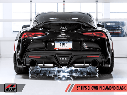 "AWE Non-Resonated Touring Edition Exhaust W/ 5"" Diamond Black Tips For 2020 Toyota Supra (A90) - 3020-33072"