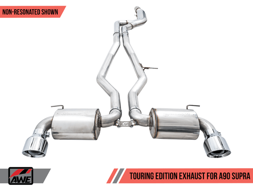 "AWE Resonated Touring Edition Exhaust W/ 5"" Chrome Silver Tips For 2020 Toyota Supra (A90) - 3015-32118"