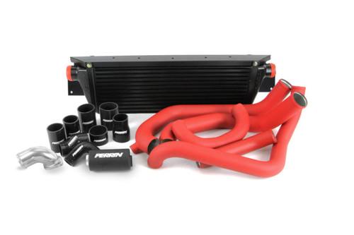 Perrin Front Mount Intercooler Kit (Black/Red) For 08-14 Subaru WRX - PSP-ITR-KIT3-BKRD