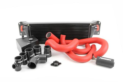 Perrin Front Mount Intercooler Kit (Black Core/Red Pipes) For 08-14 Subaru STI - PSP-ITR-KIT2-BKRD