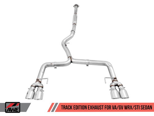 AWE Track Catback Exhaust (Black Tips) For 11+ Subaru WRX/STI - 3020-43066