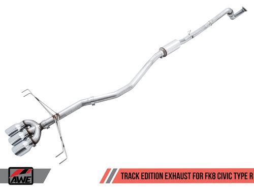 AWE FK8 Track Catback Exhaust (Black Tips) For 17+ Honda Civic Type R - 3020-53002
