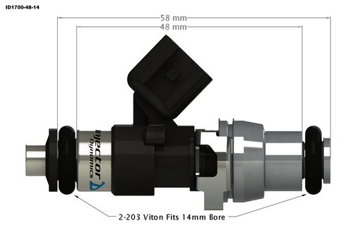 Injector Dynamics ID1700X Top Feed Fuel Injectors for Dodge Hellcat 6.2L (1700.48.14.14.8)