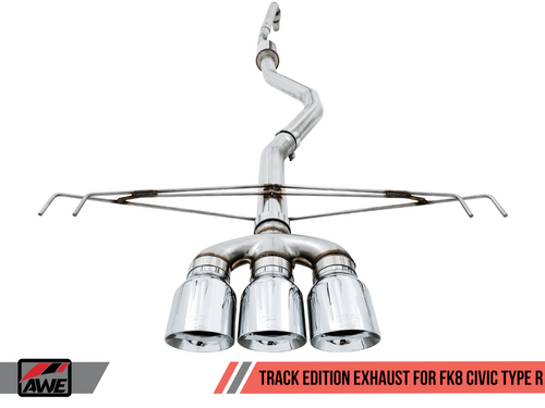 AWE Tuning FK8 Track Edition Cat-back Exhaust W/ Triple Diamond Black Tips For 17+ Honda Civic Type R - 3020-52000