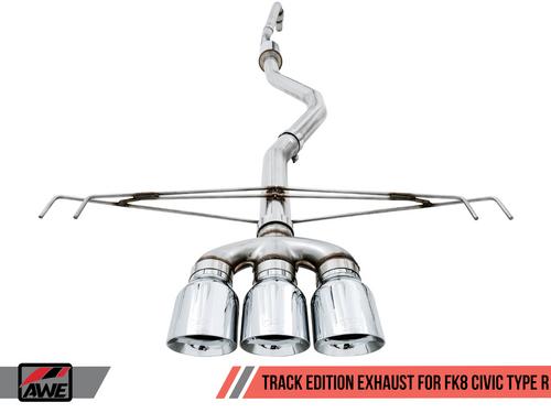 AWE FK8 Track Catback Exhaust (Chrome Tips) For 17+ Honda Civic Type R - 3020-52000