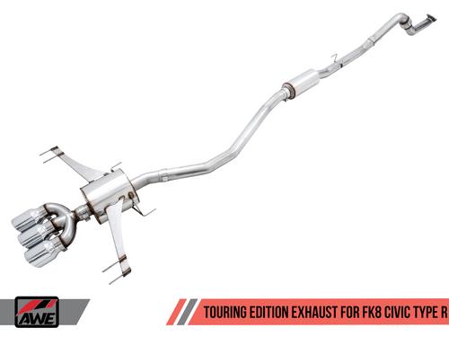 AWE FK8 Touring Exhaust (Chrome Tips) For 17+ Honda Civic Type R - 3015-52004