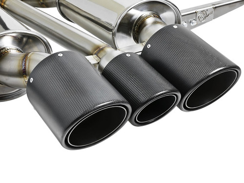 "aFe POWER 49-36616-C Takeda 3"" 304 Stainless Steel Cat-Back Exhaust System w/ Tri-Carbon Tips for 17-18 Honda Civic Type R"